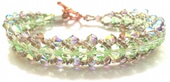 Flat Rope Beadwork Bracelet Kit with SWAROVSKI® ELEMENTS crystal beads Green/Silver